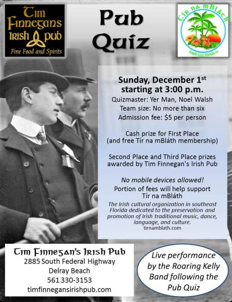 PUB QUIZ - Live Performance by the Roaring Kelly Band